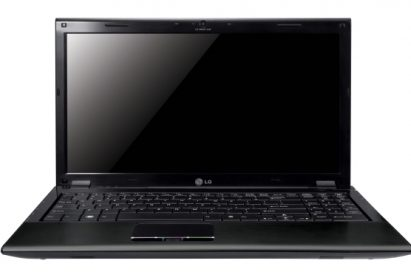 Front view of the black LG A510 laptop with its display open