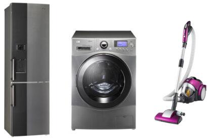 LG Bottom-Freezer refrigerator, Front-Load washing machine and KOMPRESSOR Elite vacuum cleaner