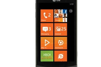 Front view of the LG Optimus 7 with an orange-themed user interface