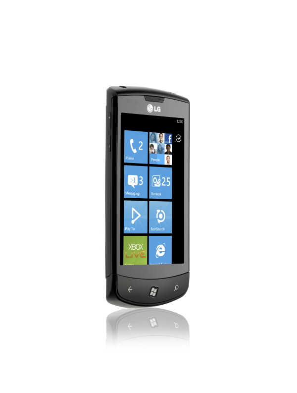 Front view of the LG Optimus 7 facing 20-degrees to the right