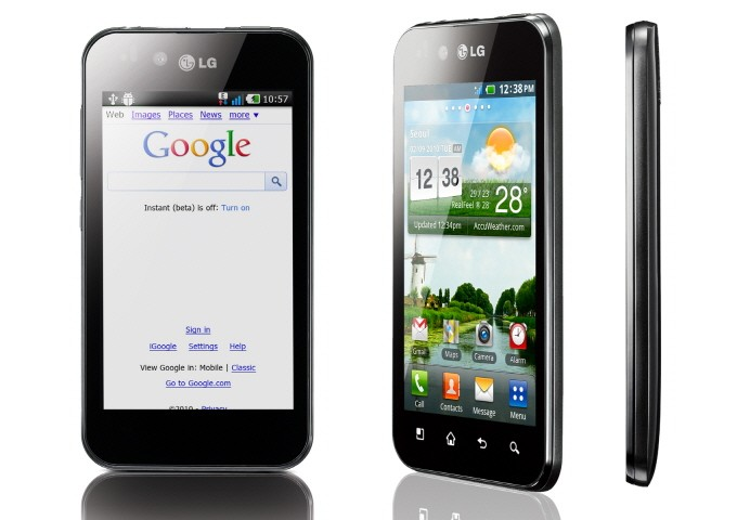 Front view, 45-degree view and side view of LG Optimus Black