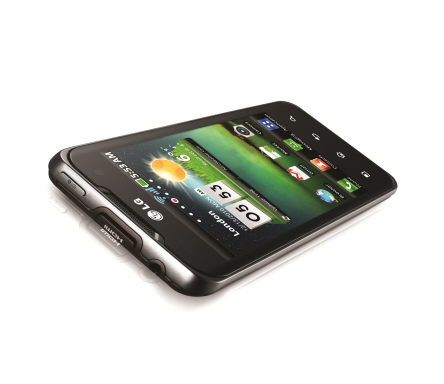The LG Optimus 2X as if laid on a table