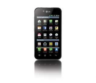 Front view of the LG Optimus Black while viewing the home apps screen