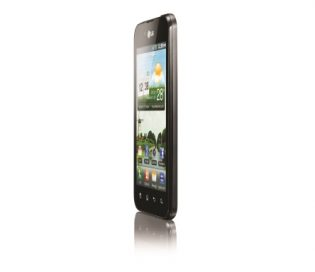 Front view of the LG Optimus Black facing 75-degrees to the left while on the home screen