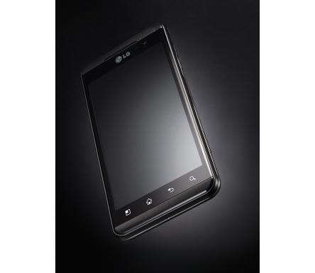 The LG Optimus 3D balancing on its bottom left corner
