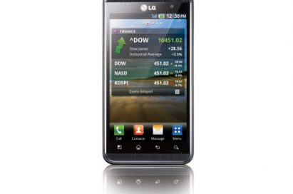 Front of the vertical LG Optimus 3D in the stocks app