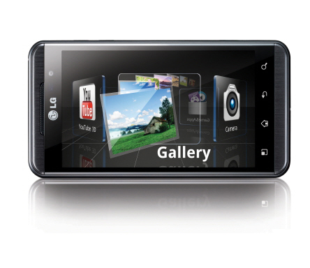 A front view of the horizontal LG Optimus 3D switching between apps