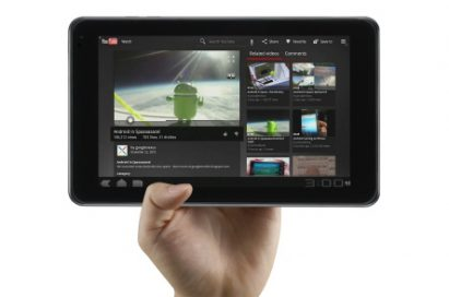 The LG Optimus Pad in its horizontal position being held effortlessly in one hand