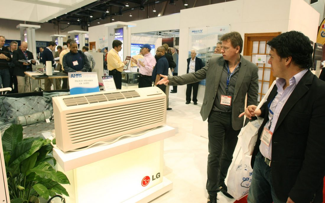 A gentleman explains how a LG commercial air conditioner works