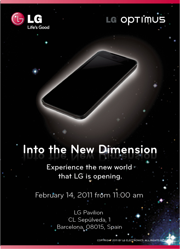 Invitation to the LG Optimus 3D Press Conference with a silhouette of a new device and the slogan, 'Into the New Dimension'