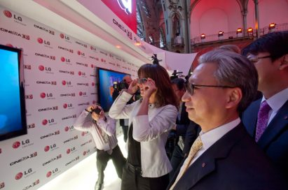 Sophie Marceau watching the LG CINEMA 3D TV at the Le Grand Palais in Paris