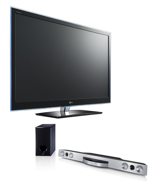 LG CINEMA 3D Smart TV model 55LW650S and 3D Blu-ray Sound Bar model HLX56S.
