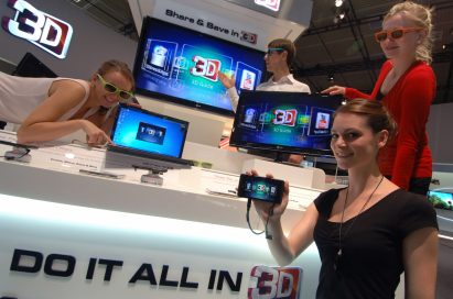 A zoom-in image of LG's diverse lineups shown at IFA 2011 including TVs, monitors, mobiles, and laptops with models