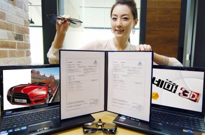 A model is showing LG 3D Notebook's TUV Rheinland certification letter