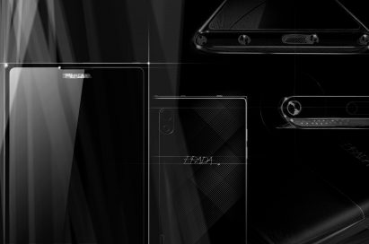 Sketch designs of front, rear and side of PRADA Phone