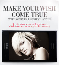 Facebook event image with the phrase, 'Make your wish come true with Optimus L Series' L-Style' at the top and a front view of Optimus L Series smartphone at the bottom