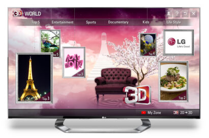 The home page of LG's premium 3D content service, 3D World, on an LG TV