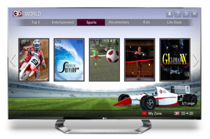 The sports' section of LG's premium 3D content service, 3D World, on an LG TV
