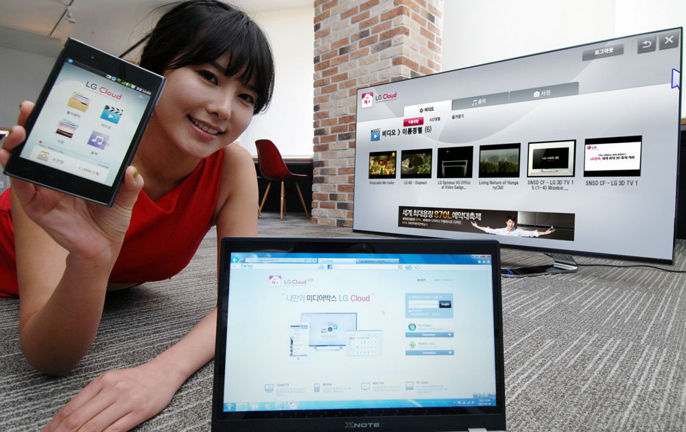 The last image of a female model holding up a phone displaying LG Cloud, the company's multimedia cloud platform on the screen while LG's XNote mirrors the phone's screen