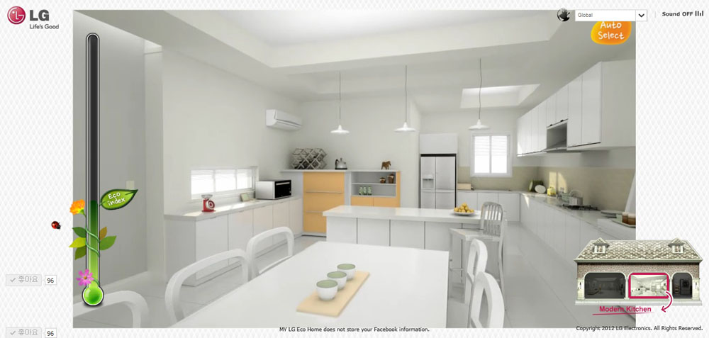 Inside view of a virtual eco-friendly kitchen offered on LG's My Eco Home website