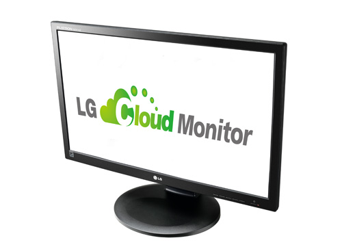 A right-side view of LG cloud monitor P Series model N2311AZ.