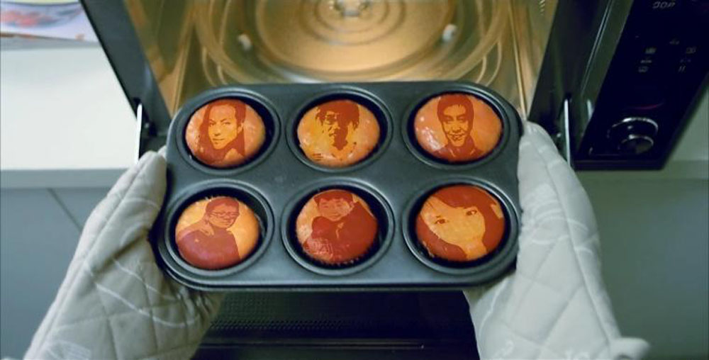 An interactive section of LG's My Eco Home website which overlays the portraits of visitors on the cookies that are being brought into LG's ultra wave.