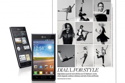 Two different front views of LG Optimus L7 next to an image involving 9 different models in posing in different positions while holding LG Optimus L-Series smartphones