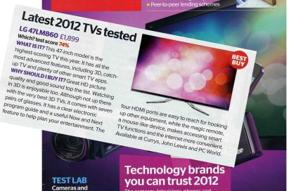 The cover of U.K.-based magazine Which? with a clipping of the page that features LG's 47LM860 TV overlapping