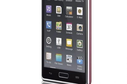 Front view of the LG Optimus L7 with apps displayed on the screen while facing 15 degrees to the left
