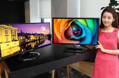 A model presents LG premium IPS monitors, E83 and E93