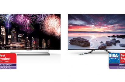 LG 55EM970V with EISA Award Best Product logo for Display Achievement on the left, and LG 55LM960V with EISA Award Best Product logos for Smart TV category on the right