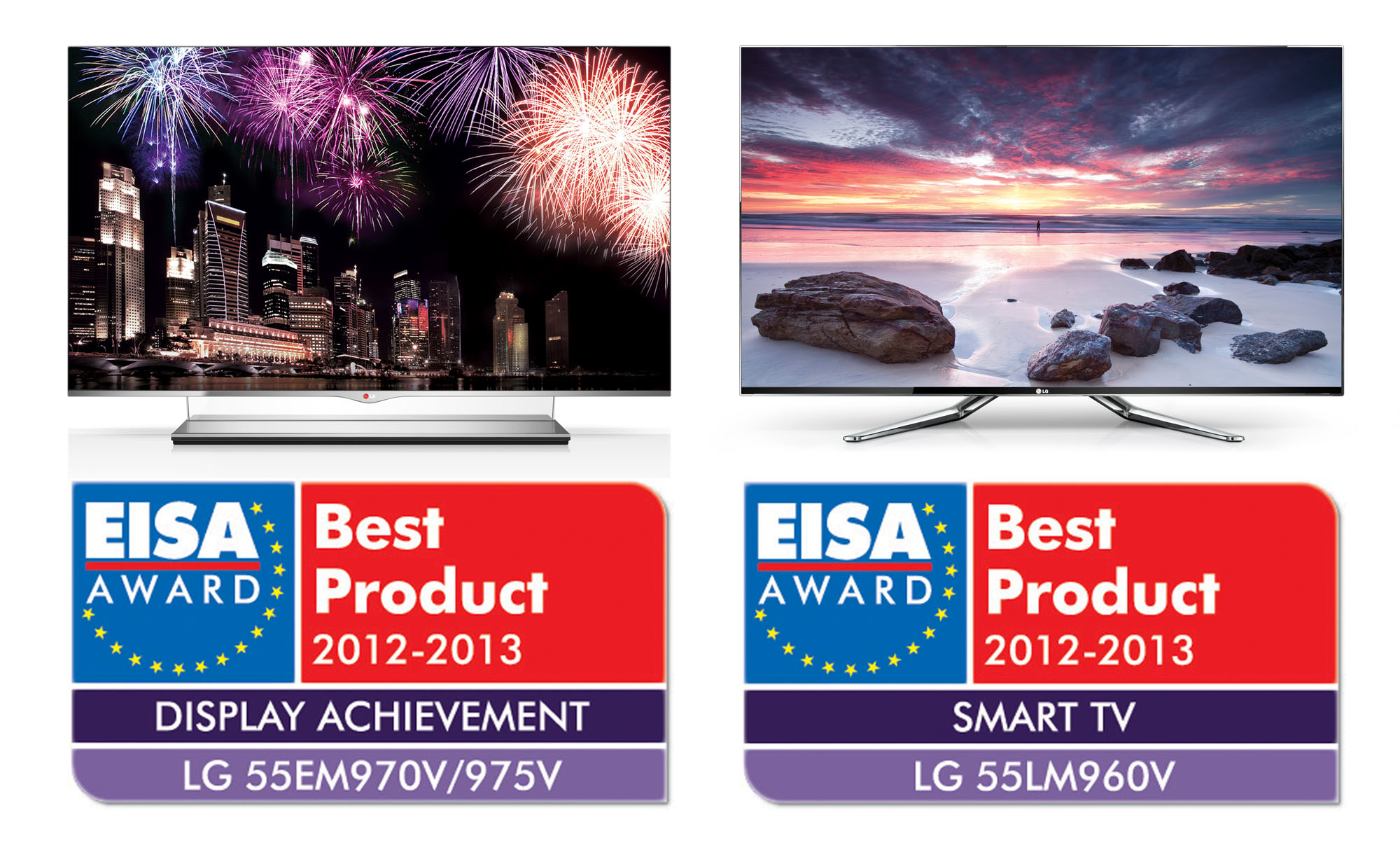 LG 55EM970V and 55LM960V placed on top of EISA Award Best Product logos for Display Achievement and Smart TV category