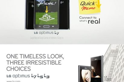 A promotional image to explain the QuickMemo feature with front and rear view of the LG Optimus L7 smartphones