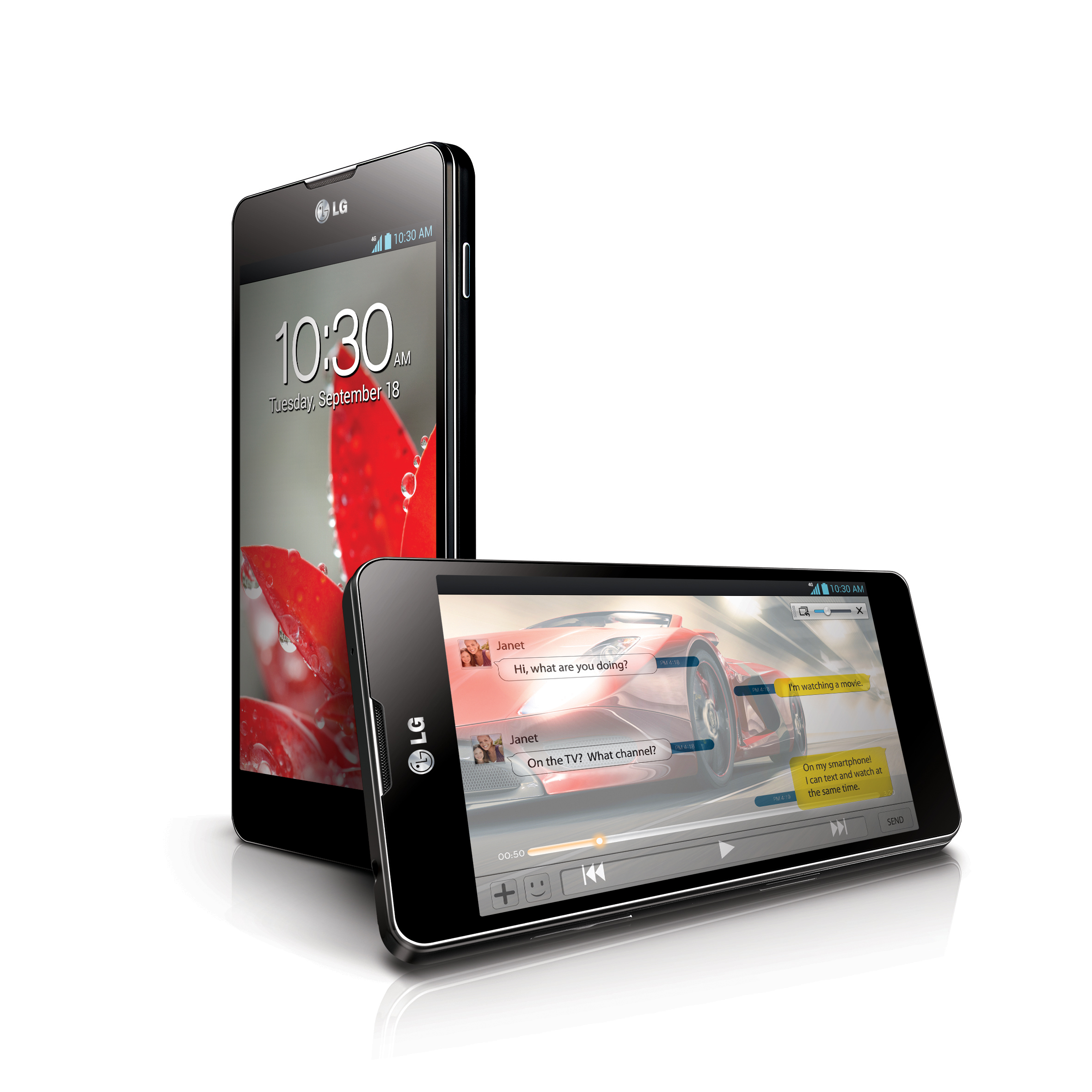 Vertical and horizontal 45-degree views of LG Optimus G
