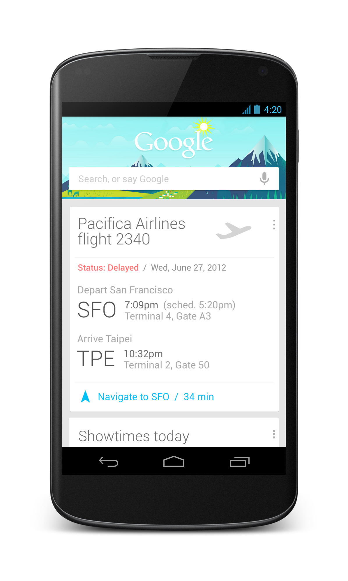 Front view of LG Nexus 4 showing a search for flights on Google.