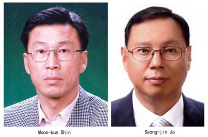 Headshots of Shin Moon-bum, president of LG Electronics Home Appliance Company, and Jo Seong-jin, executive vice president of LG Electronics Home Appliance Company