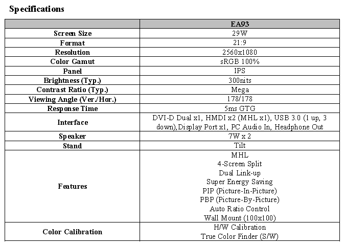 Specifications of LG UltraWide monitor model EA93