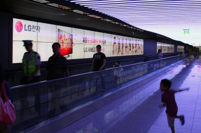 LG's digital signage at the International airport