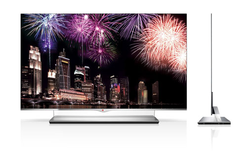 Front and side views of the LG 55-inch class (54.6-inch diagonal) WRGB OLED TV Model 55EM9700.