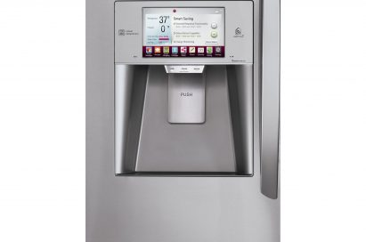 Close-up of the LG smart refrigerator's LCD panel