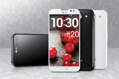 From left to right; A front view of LG Optimus G Pro in black color, a front view of LG Optimus G Pro in white color, a back view of LG Optimus G Pro in black color, a back view of LG Optimus G Pro in white color.