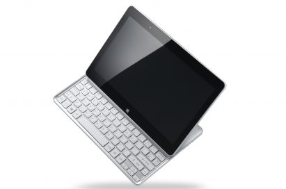A side view of the LG Tab-Book balancing on its bottom right corner.