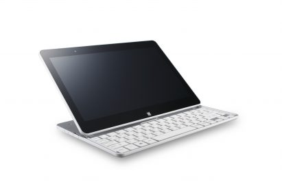 A side view of the LG Tab-Book on a table with its keyboard revealed.