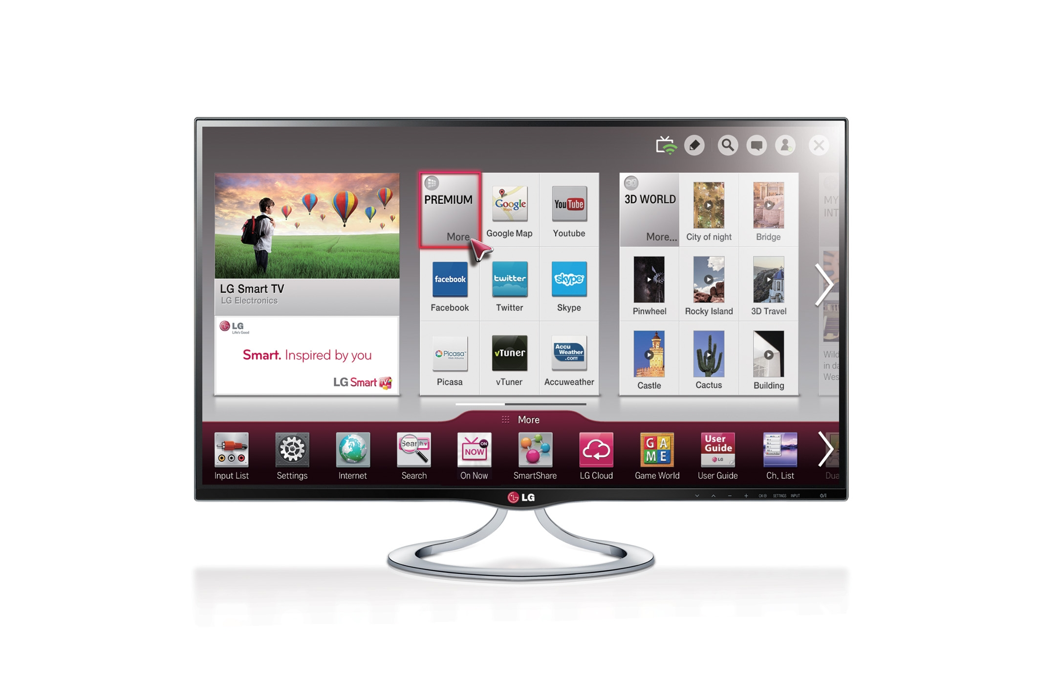 The LG 27-inch IPS Personal Smart TV model MT93 displaying the Smart Home platform on screen