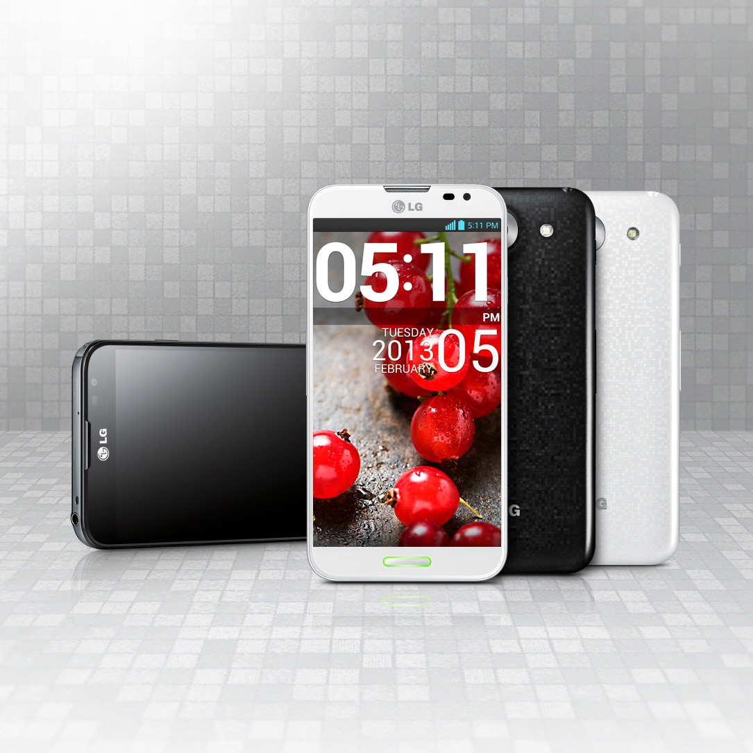Horizonal, front, rear views of the LG Optimus G Pro in black and white