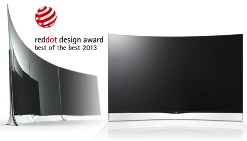 Logo of the Red Dot Design Awards next to a picture of LG's curved OLED TV (model EA9800), which took the Best of the Best 2013 award