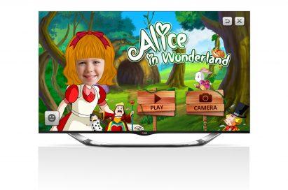 Alice in Wonderland is presented on an LG TV's screen via LG's children-friendly Smart TV app, Avatarbook