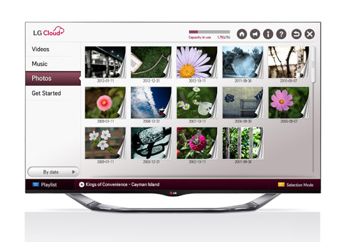 LG Cloud service showing stored photos on screen.