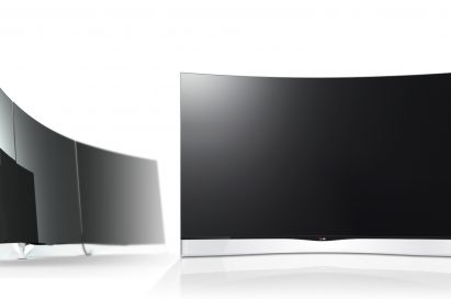 Two LG CURVED OLED TVs, model 55EA9800, one facing right and the other facing the front
