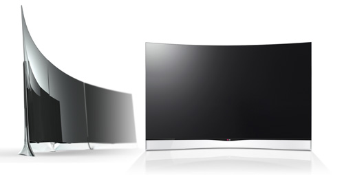 Two LG CURVED OLED TVs, model 55EA9800, one facing right and the other facing the front.